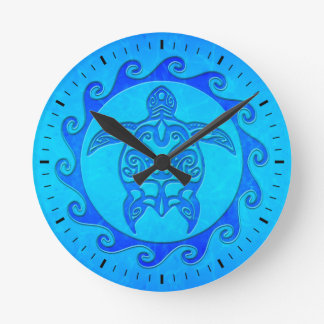 Blue Tribal Turtle Sun Round Clock