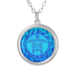 Blue Tribal Turtle Sun Silver Plated Necklace