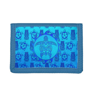 Blue Tribal Turtle Sun Trifold Wallet