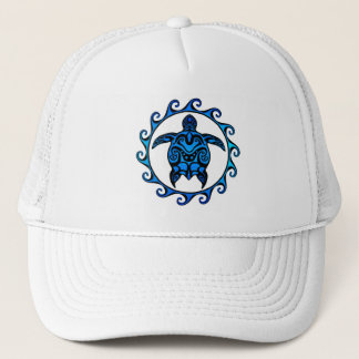 Blue Tribal Turtle Sun Trucker Hat