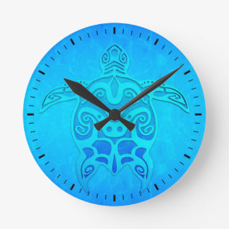 Blue Tribal Turtle Wall Clocks