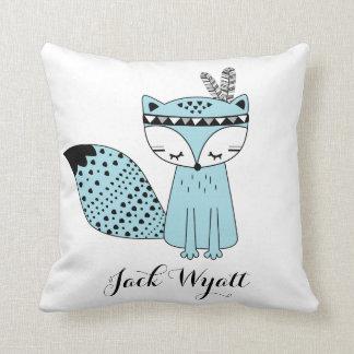 Blue Tribal Woodland Fox Baby Boy Modern Nursery Cushion