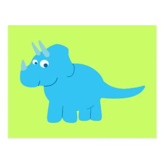 Blue Triceratops Dinosaur Postcard