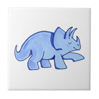 Blue Triceratops Small Square Tile