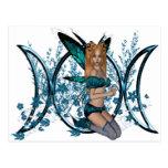 Blue Triple Moon Goddess Symbol Fairy Post Cards