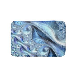 Blue Trippy Psychedelic Fine Fractal Art Bath Mats