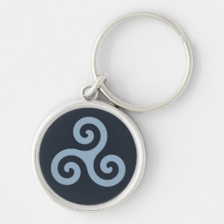 Blue Triskelion Silver-Colored Round Key Ring