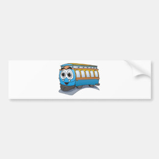 Blue Trolley Cartoon Bumper Sticker