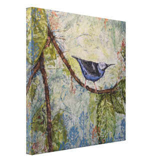 Blue Tropical Bird Watercolor Print Wrapped Canvas