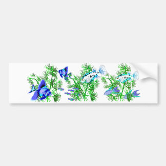 Blue Tropical Fish in Plants Bumper Stickers