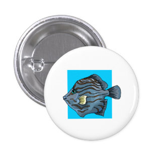 Blue Tropical Fish Pinback Button