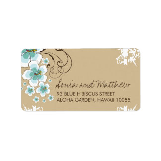 Blue Tropical Hibiscus Chic Wedding Address Labels