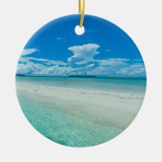 Blue tropical seascape, Palau Round Ceramic Decoration
