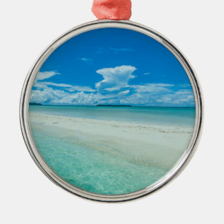 Blue tropical seascape, Palau Silver-Colored Round Decoration