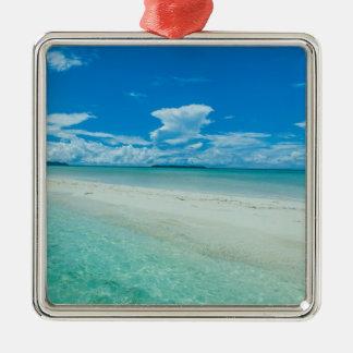 Blue tropical seascape, Palau Silver-Colored Square Decoration
