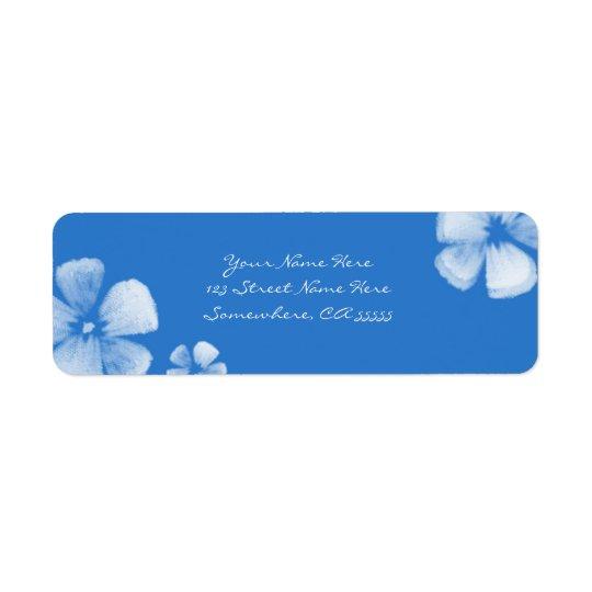 Blue Tropical Watercolor Flowers Address Labels