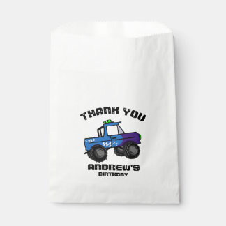 Blue Truck Birthday Monster Truck Favour Bags