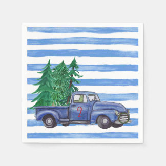 Blue Truck Christmas Napkins Custom Paper Serviettes