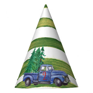 Blue Truck Hat - Green Stripe - Editable Age