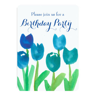 Blue Tulip Watercolor Flowers 90th Birthday Party Card