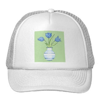 Blue Tulips green Hat