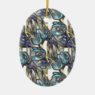Blue Tulips Pop Art Christmas Ornament