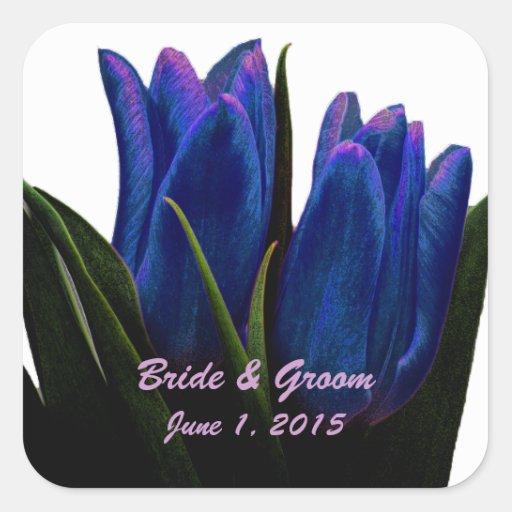 Blue Tulips Wedding Stickers