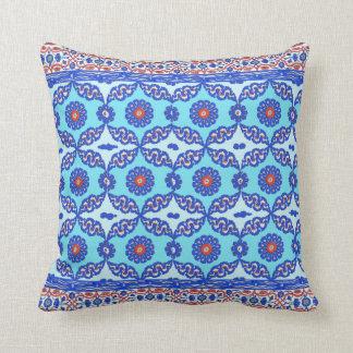 Blue Turkish Tile Ottoman Iznik Design Throw Pillow