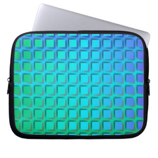 Blue Turquoise and Green Squares Pattern Laptop Sleeve