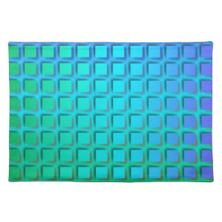 Blue Turquoise and Green Squares Pattern Placemat