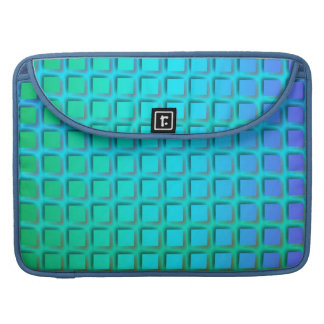 Blue Turquoise and Green Squares Pattern Sleeve For MacBooks