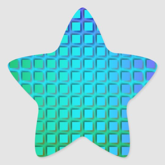 Blue Turquoise and Green Squares Pattern Star Sticker