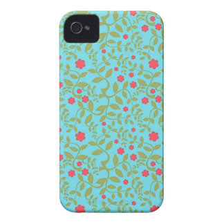 Blue turquoise and hot pink flowers floral damask iPhone 4 Case-Mate cases