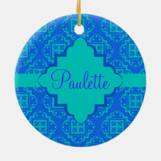 Blue & Turquoise Arabesque Moroccan Graphic Christmas Ornament
