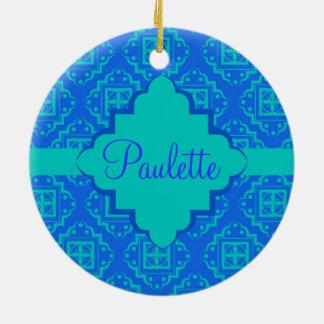 Blue & Turquoise Arabesque Moroccan Graphic Round Ceramic Decoration