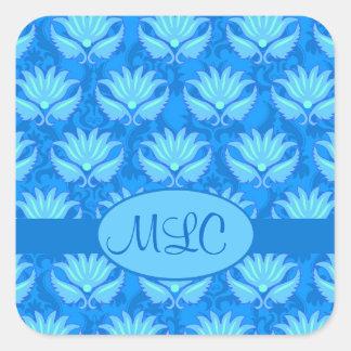 Blue Turquoise Art Nouveau Damask Monogram Square Sticker