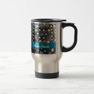 Blue turquoise beaded stainless steel travel mug