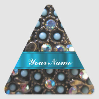 Blue turquoise beaded triangle sticker