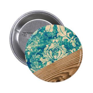 Blue Turquoise Damask Wood Grunge Teal  Phone Case 6 Cm Round Badge