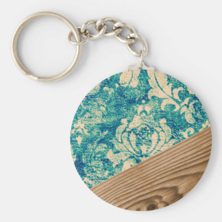 Blue Turquoise Damask Wood Grunge Teal  Phone Case Basic Round Button Key Ring