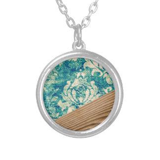 Blue Turquoise Damask Wood Grunge Teal  Phone Case Round Pendant Necklace