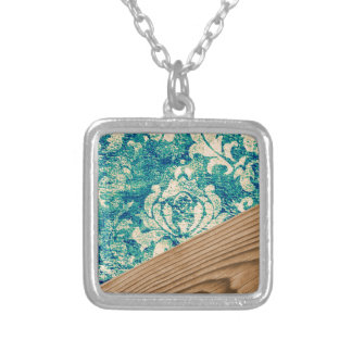 Blue Turquoise Damask Wood Grunge Teal  Phone Case Square Pendant Necklace