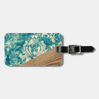 Blue Turquoise Damask Wood Grunge Teal  Phone Case Tags For Bags