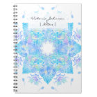 Blue turquoise floral watercolor handdrawn mandala notebook