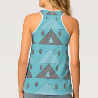 Blue Turquoise Gray Geometric Pattern Tank Top