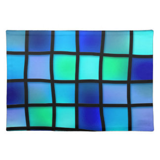 Blue Turquoise Green Purple Stained Glass Art Placemats