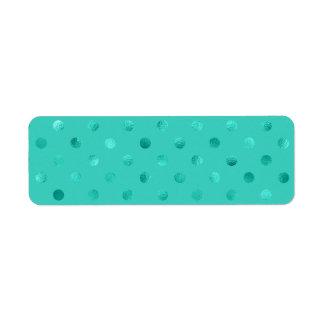 Blue Turquoise Metallic Faux Foil Polka Dot Aqua Return Address Label