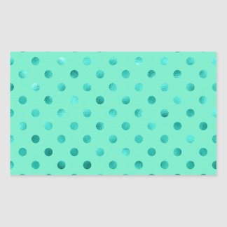 "Blue Turquoise Metallic Foil ""Polka Dot"" Rectangle Sticker"