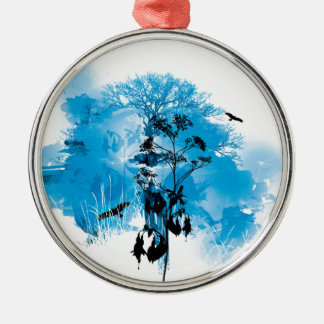 Blue Turquoise Nature Land Tree Bird Design Silver-Colored Round Decoration