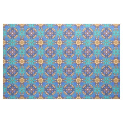 Blue Turquoise Ochre Retro Nouveau Mosaic Pattern Fabric